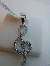 .925 STERLING SILVER Micro-pave Iced fancy treble clef Pendant new