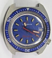 Vintage-Gents-HELBROS-Electric-Date-Stainless-Steel-Diver Wrist Watch Fancy Dial