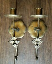 Vintage Pair Gold Brass Two Wall Mount Sconce Single Candle Holders