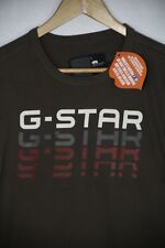 VINTAGE Mens G STAR T Shirt SOUTH EAST RAW DENIM MUSCLE Fit Large Brown P46