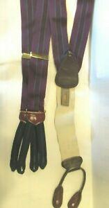 TRAFALGAR  suspenders Mens Bracers One Size PURPLE DAMAGE BStriped