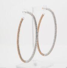 Michelle Monroe Large Two-Tone Oval Hoop Earrings w/swarovski