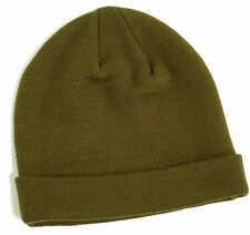 MENS KHAKI MINI FIT BEANIE RIBBED HAT ONE SIZE