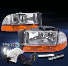 1997-2004 DODGE DAKOTA/1998+ DURANGO HEAD LIGHT+AMBER BUMPER W/DRL LED+6000K HID