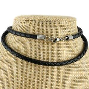 4mm Black Braided Genuine Leather Cord Necklace