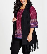 Plus  Size Ladies Black Thick Knitted Fringe Vest Size 18-20 Free post RRP $80