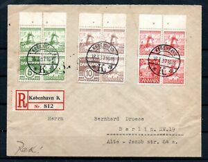 DENMARK , 1937 , three BOOKLET PANES HANSSEN FONDS on reg. cover to Germany !