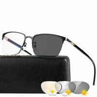 Men Photochromic Gray Reading Glasses Readers UV400 Semi Frame  Eyewear Metal&TR