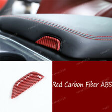 Red Carbon Fiber ABS Central Armrest Box Button Trim For Dodge Challenger2015-20