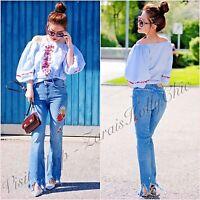 Zara High Rise Embroidered Frayed Hem Crop Mini Flare Jeans 6 UK US 2 Blogger ❤