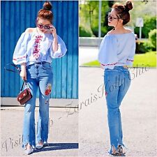 Zara High Rise Embroidered Frayed Hem Crop Mini Flare Jeans 6 UK US 2 Blogger ❤