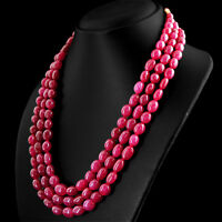 AMAZING 622.00 CTS EARTH MINED RICH RED RUBY 3 STRAND OVAL SHAPE BEADS NECKLACE