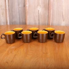 7 Vintage Homer Laughlin Yellow Decostone Tea Cups Coffee Mugs by Andre Ponche