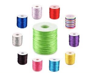Rattail Satin Silky Cord 1mm Nylon Thread for Kumihimo Shamballa Macrame 53 col.