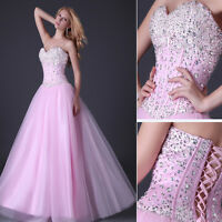 2015 Stunning Corset Style Sequins Evening Party Ball Gown Prom Bridesmaid Dress