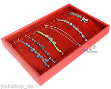 Samt - Vorlagebrett Schaukasten für Ketten Armbänder Fußbänder  rot
