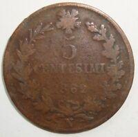 1882 N  ITALY 5 CENTESIMI  NICE WORLD COIN