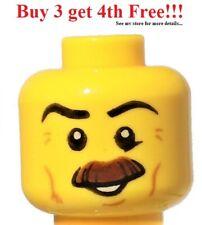☀️NEW Lego Minifigure Head Moustache Brown Bushy Black Eyebrows Cheek Lines