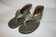 "Unlisted Silver 75590 Women's Size 6 Thong 2"" Mule Heel Shoes Open Toe Beaded"
