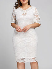 Plus Size XL-5XL Women Dress V Neck Half Sleeve Floral Lace Evening Party Dress