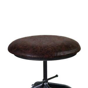 Armen Living Elena Adjustable Barstool, Industrial Grey/Brown Fabric - LCELSTSBR