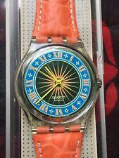 Orologio Swatch Gent COUGAR (GK172)-NUOVO+nuova batteria+Arancio/Sole/Pelle vero