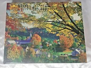 Vintage Golden Guild 1000 Piece Jigsaw Puzzle Fall Leaves with Town New Sealed