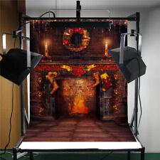 5x7Ft Vinyl Christmas Fireplace Art Photography Background Backdrop Studio Props