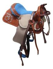 """D.A. Brand 10"""" Turquoise Tooled Pony Saddle Set Bridle Breast Collar Horse Tack"""