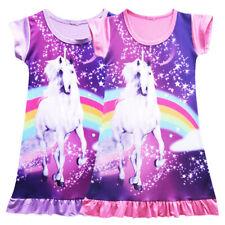 UK Kids Girl Unicorn Dress Nightie Nightdress Summer Pajamas Skirt Party Dresses