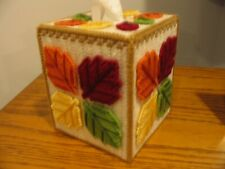 Autumn Leaves Tissue Box/Cover/Topper - Handmade - Finished Item