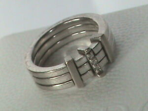 HOT DIAMONDS Sterling Silver 3 Diamond Band Ring O