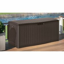Storage Deck Box Outdoor Container Bin Chest Patio Suncast 124 Gallon Wicker New