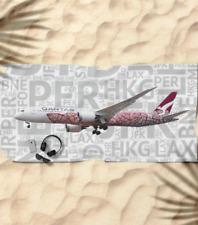 Qantas Boeing 787 with Airport Codes -  Beach Towel