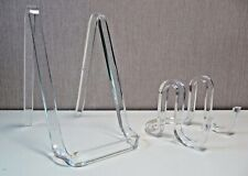 "2 Lucite Plastic Acrylic Plate Picture Stand Easel (one 6"" tall; one 3"" tall)"
