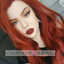 Orange Red Wig Natural Long Wavy Synthetic Hair Lace Front Wigs For White Women