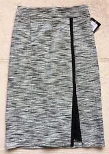 Nanette Lepore Side Split Pencil Skirt, Size 0, Black & White, Below Knees, Zips