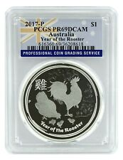 New Listing2017 P Australia 1oz Silver Proof Rooster Ngc Pcgs Pr69 - Flag Label
