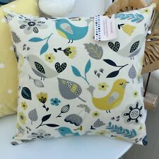 CUSHION COVER DUCK EGG BLUE OCHRE GREY YELLOW BIRD  NORDIC  TURQUOISE EASTER SCA