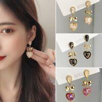 Fashion Heart Butterfly Knot Enamel Earrings Dangle Drop Stud Women Jewelry Gift