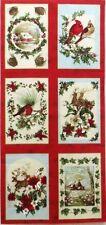 Christmas Cardinal Reindeer Fabric Winter Scene Postcard Sized 6 Quilt blocks
