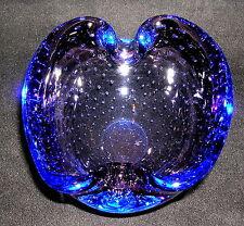 Murano Glas Schale mit Luftblasen Blau 60er / 70er Jahre