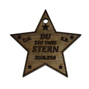 """Schlüsselanhänger """"Du bist mein Stern"""" mit Ihren Namensinitialen graviert."""