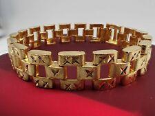 Men Jewellery 18K Yellow gold Solid Wide 12mm Watch band Women bracelet 8 inch