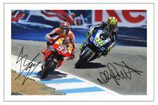 MARC MARQUEZ & VALENTINO ROSSI SIGNED AUTOGRAPH PHOTO PRINT MOTO GP