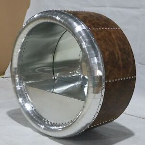 Timothy Oulton Style Aviator Cowling Mirror Aluminum With Brazil Genuine Leather