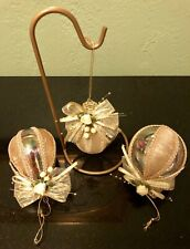 Christmas Tree Ornaments Golden Heart And Two Round Ornaments