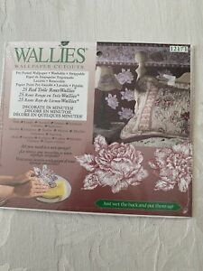 Wallies Wallpaper Cutouts Pre-Pasted Crafts Decopauge Red TOILE ROSES Flowers