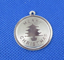VINTAGE STERLING SILVER MERRY CHRISTMAS DISK CHARM
