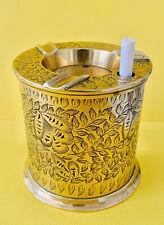 More details for vintage brass decorative ashtray cigarette dispenser canister made in india
